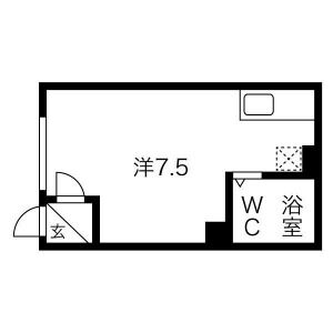 1R Apartment in Ainosato 4-jo - Sapporo-shi Kita-ku Floorplan