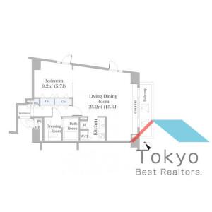 澀谷區代官山町-1LDK公寓大廈 房間格局
