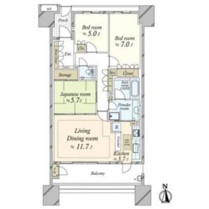 3LDK Apartment in Shirokane - Minato-ku Floorplan