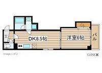 1LDK Apartment to Rent in Osaka-shi Chuo-ku Floorplan
