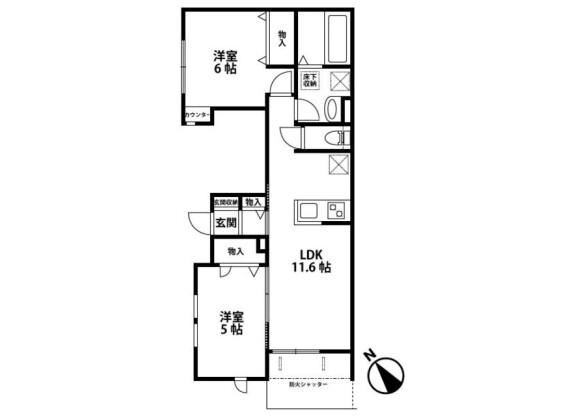 2LDK Apartment to Rent in Kashiwa-shi Floorplan