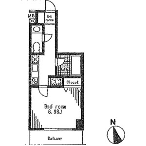 1K Apartment in Nishimagome - Ota-ku Floorplan