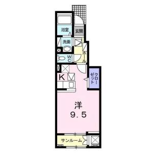 世田谷區中町-1K公寓 房間格局