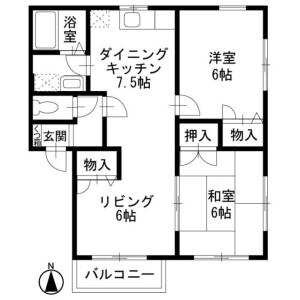 2LDK Apartment in Tsumadanishi - Atsugi-shi Floorplan