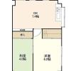 在涩谷区内租赁2DK 公寓大厦 的 楼层布局