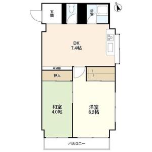 涩谷区恵比寿西-2DK公寓大厦 楼层布局