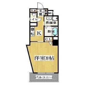 1K Mansion in Bishoen - Osaka-shi Abeno-ku Floorplan