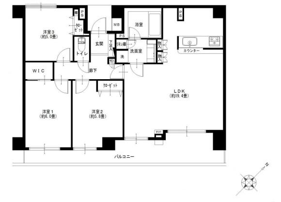3LDK Apartment to Buy in Sagamihara-shi Minami-ku Floorplan
