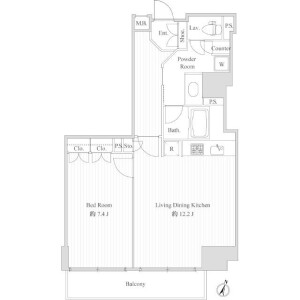 1LDK Mansion in Maruyamacho - Shibuya-ku Floorplan