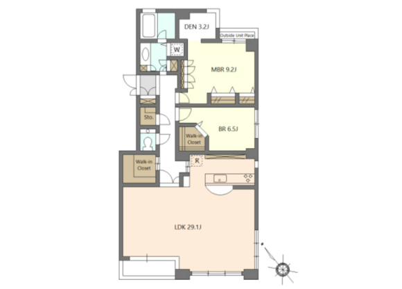 2SLDK Apartment to Rent in Minato-ku Floorplan