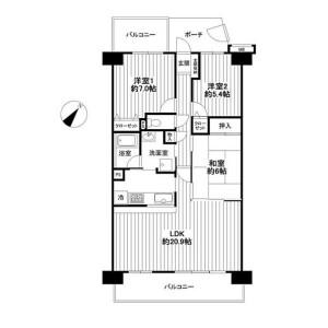 3LDK Apartment in Higashimonzen - Saitama-shi Minuma-ku Floorplan