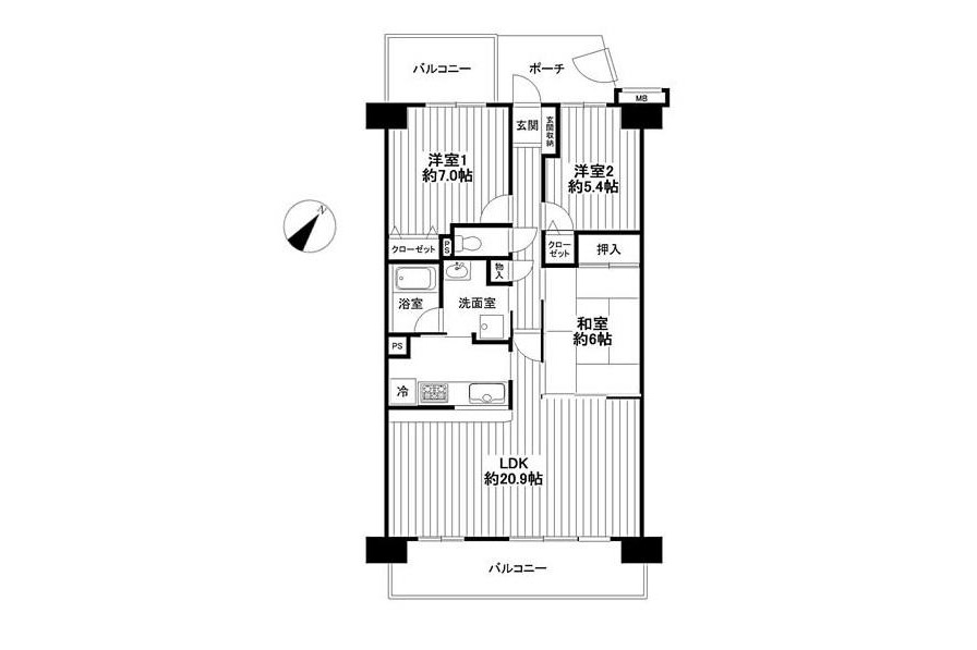 3LDK Apartment to Buy in Saitama-shi Minuma-ku Floorplan