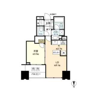 1SLDK Apartment in Toyosu - Koto-ku Floorplan
