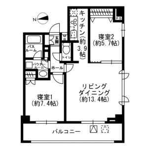 新宿區荒木町-2LDK公寓大廈 房間格局