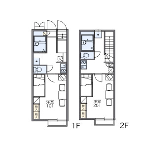1K 아파트 in Nakaochiai - Shinjuku-ku Floorplan