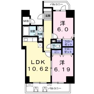 2LDK Mansion in Minamikasai - Edogawa-ku Floorplan