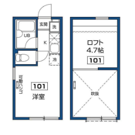 1R Apartment in Kamiochiai - Shinjuku-ku Floorplan