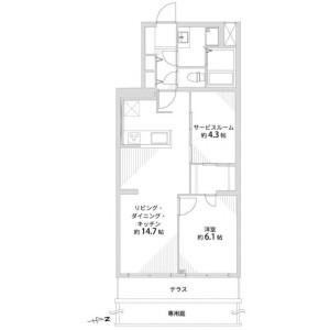 1SLDK {building type} in Shimoseizoguchicho - Kyoto-shi Kamigyo-ku Floorplan