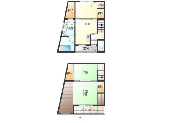 2DK House to Rent in Osaka-shi Konohana-ku Floorplan