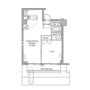 港區芝大門-1LDK公寓大廈 房間格局