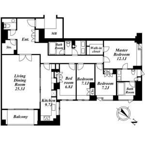 港区南麻布-4LDK公寓 楼层布局