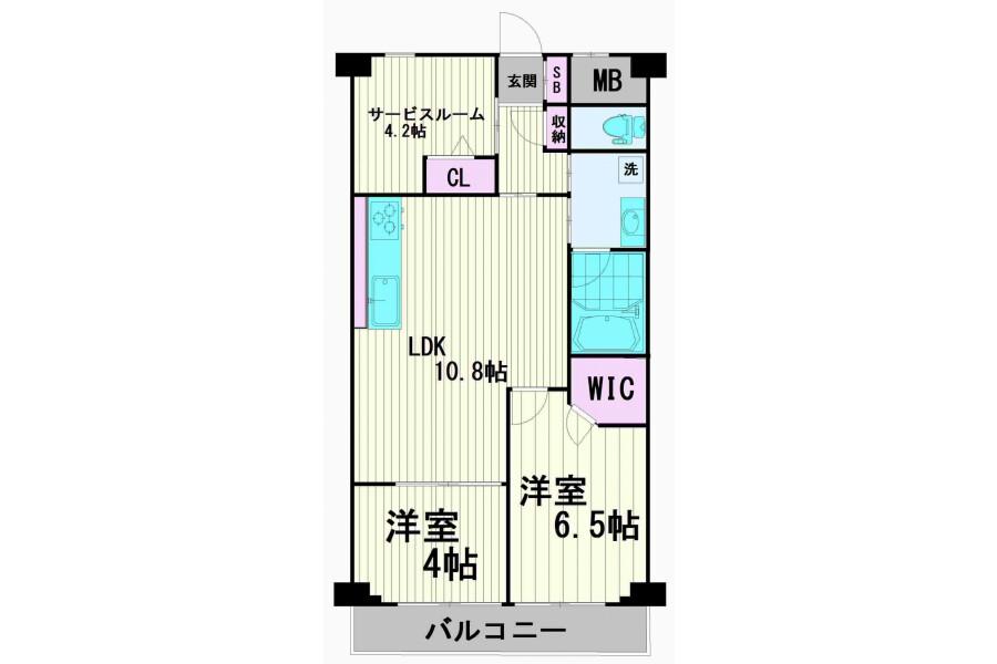 2SLDK Apartment to Buy in Shinagawa-ku Floorplan