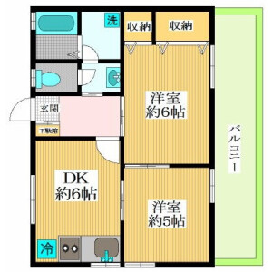 2DK Apartment in Daizawa - Setagaya-ku Floorplan