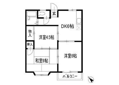 3DK Apartment to Rent in Yachiyo-shi Floorplan
