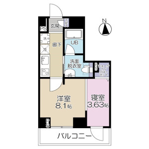 1LDK Mansion in Kamiochiai - Shinjuku-ku Floorplan