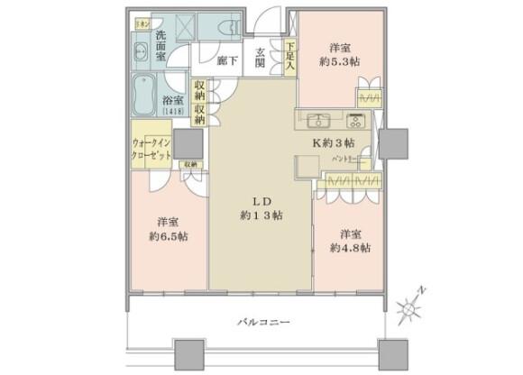 3LDK Apartment to Buy in Koto-ku Floorplan
