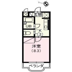 1K Mansion in Minamiyana - Hadano-shi Floorplan
