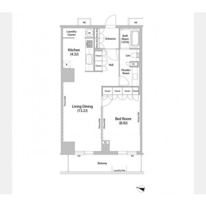 1LDK Mansion in Shinogawamachi - Shinjuku-ku Floorplan