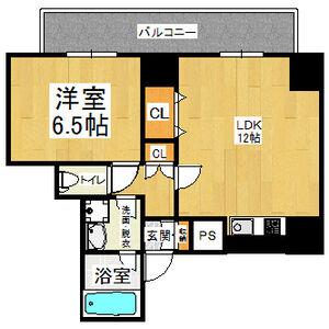 1LDK Mansion in Shikitsunishi - Osaka-shi Naniwa-ku Floorplan