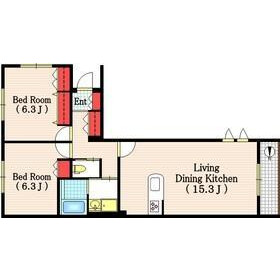 2LDK Apartment in Tsurumaki - Setagaya-ku Floorplan