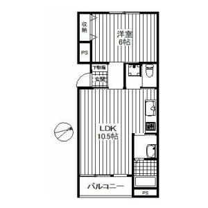 1LDK Mansion in Iwado minami - Komae-shi Floorplan