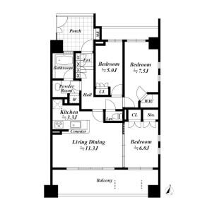 文京区本郷-3LDK公寓 楼层布局