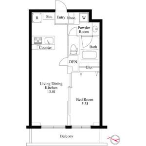 1LDK Mansion in Kakinokizaka - Meguro-ku Floorplan