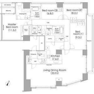 港区東麻布-4LDK公寓 楼层布局