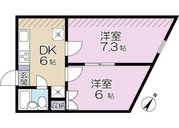 2DK Apartment to Rent in Inagi-shi Floorplan