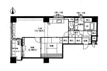 2LDK Apartment to Rent in Nagoya-shi Naka-ku Floorplan