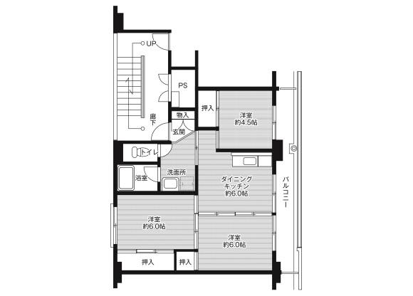3DK Apartment to Rent in Tsu-shi Floorplan