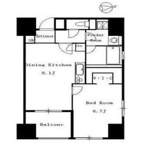 港區芝(4、5丁目)-1LDK公寓大廈 房間格局