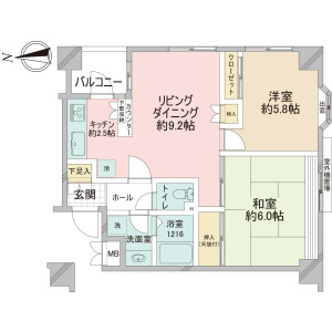 2LDK {building type} in Arakicho - Shinjuku-ku Floorplan