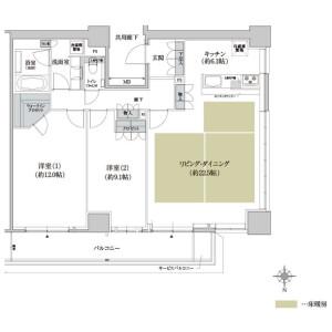2LDK {building type} in Kawaramachi - Osaka-shi Chuo-ku Floorplan