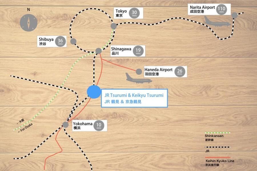1R Apartment to Rent in Yokohama-shi Tsurumi-ku Map