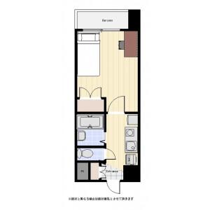 新宿區西新宿-1R公寓大廈 房間格局