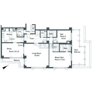 港区南麻布-2LDK公寓 楼层布局