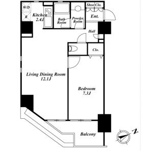 1LDK Mansion in Nishishimbashi - Minato-ku Floorplan