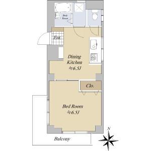 1DK {building type} in Hatanodai - Shinagawa-ku Floorplan
