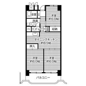 3DK Mansion in Nishinakajima - Gifu-shi Floorplan